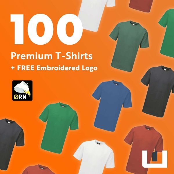 100 Premium Embroidered T-Shirts