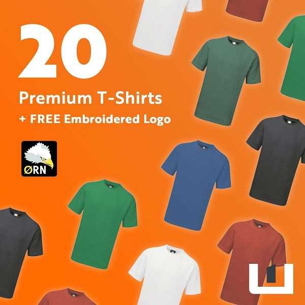 20 Premium Embroidered T-Shirts
