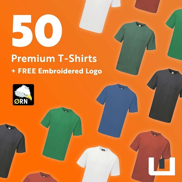 50 Premium Embroidered T-Shirts