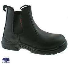 Grafters M9502A Black Leather Wide Fitting Safety Dealer Boot