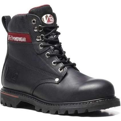 V12 Boulder Black Hide Safety Derby Boot