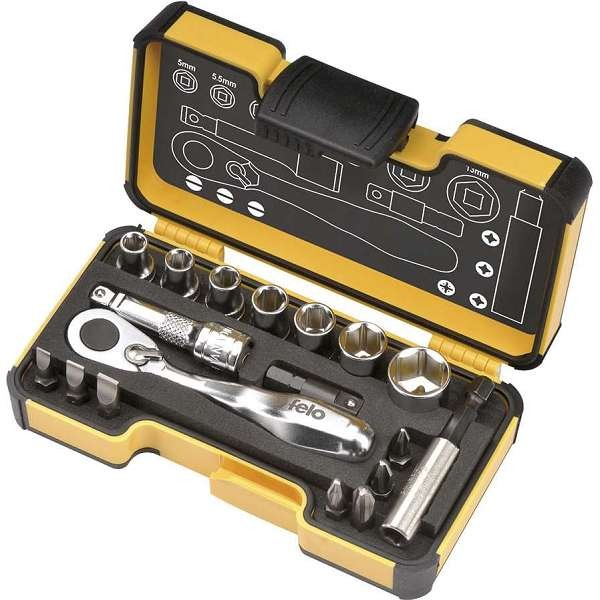 Felo XS 18 – 18 Piece 1/4″ Ratchet Set