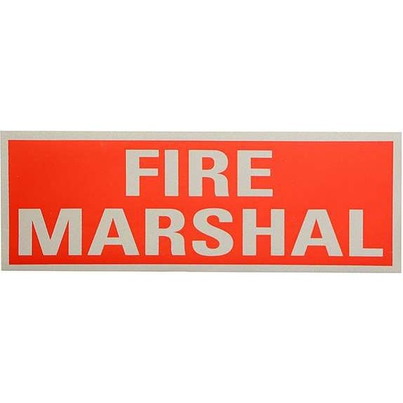 Fire Marshal Reflective Rear (250mmx90mm)