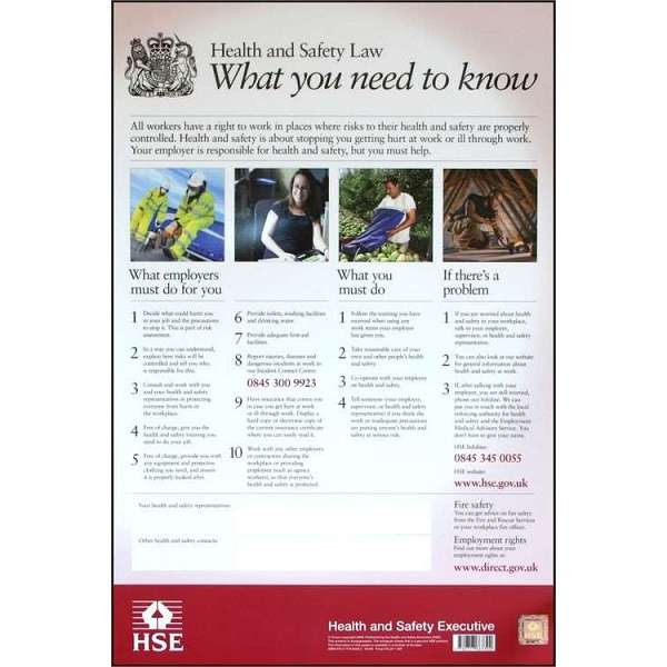 Health & Safety Law Poster PVC 420mm X 594mm