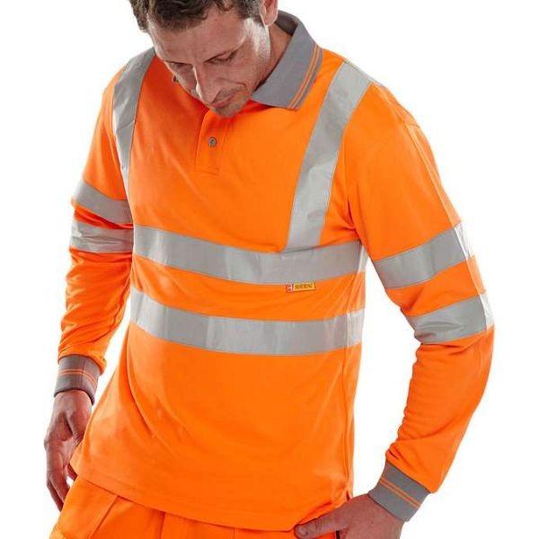 Hi Vis Rail Spec Long Sleeve Polo (bseen)