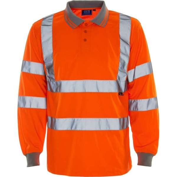 Hi Vis Rail Spec Long Sleeved Birds Eye Polo Shirt
