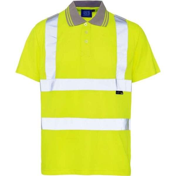 Hi Vis Yellow Short Sleeve Birds Eye Polo Shirt