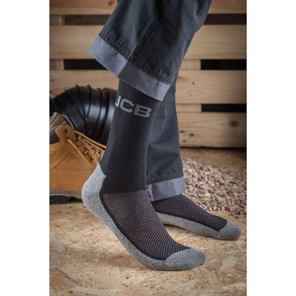 JCB Everyday Work Socks - Black/Grey (3 Pack)