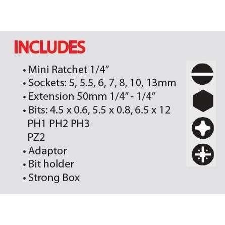 Felo XS 18 – 18 Piece 1/4″ Ratchet Set