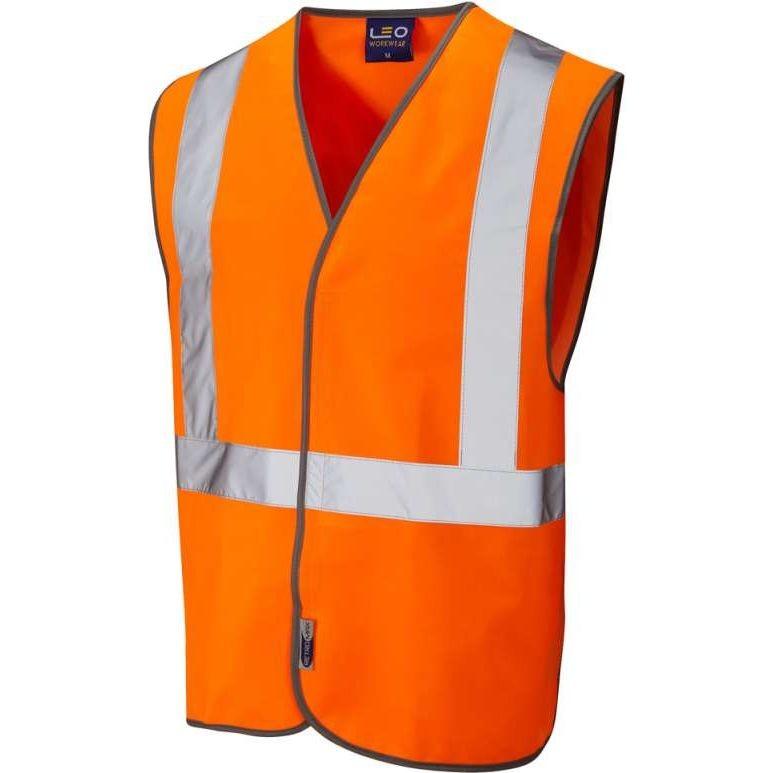 LEO Lapford ISO 20471 Class 2 Railway Velcro Waistcoat Orange