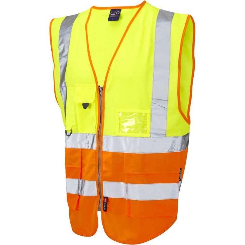 LEO Lynton ISO 20471 Class 2 Superior Waistcoat Yellow/Orange