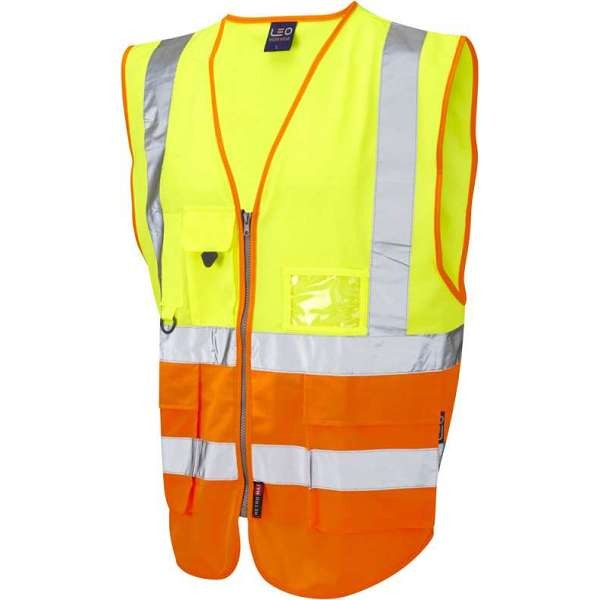 LEO Lynton ISO 20471 Class 2 Superior Waistcoat Yellow/Orange