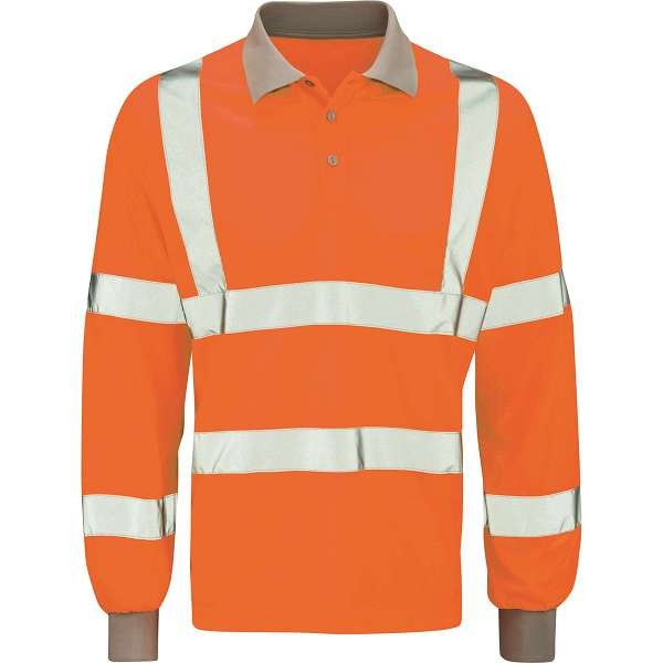 Hi Vis Andromeda Orange Rail Spec Long Sleeve Polo Shirt (Pro Rail Black Knight)