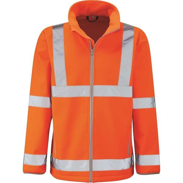 Hi Vis Marquis Orange Rail Spec Softshell Jacket (Pro Rail Black Knight)