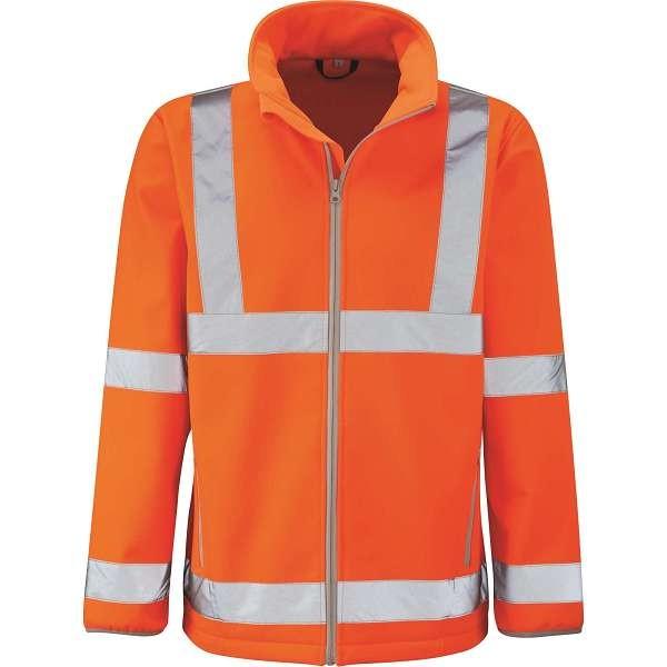 Hi Vis Marquis Orange Rail Spec Softshell Jacket (Pro Rail Black Knight)