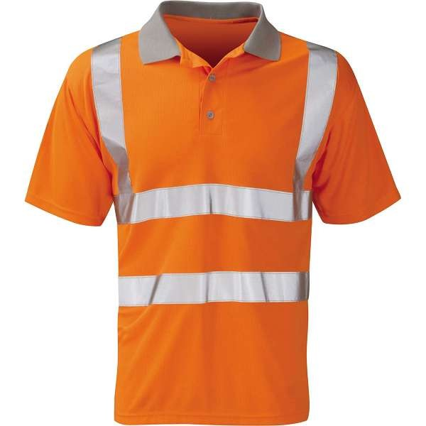 Hi Vis Mercury Orange Rail Spec Short Sleeve Polo Shirt (Pro Rail Black Knight)