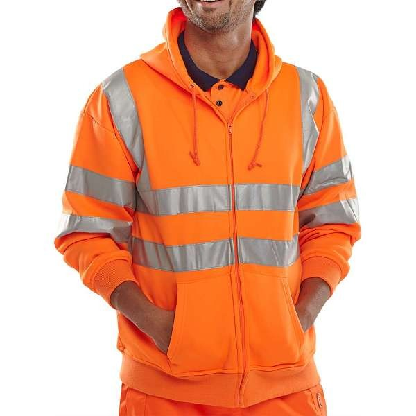 Hi Vis Rail Spec Zip Up Hooded Sweatshirt