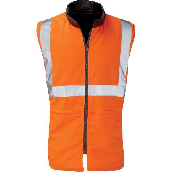 Hi Vis Trooper Orange Rail Spec Reversible Body Warmer (Pro Rail Black Knight)