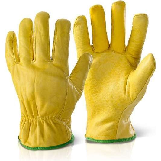 Quality Lined Drivers Gloves - Yellow (10 Pack)