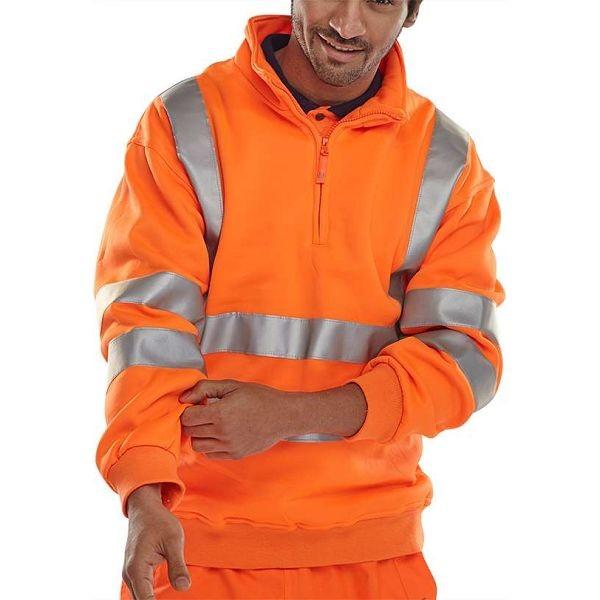 Quarter Zipped Orange Sweatshirt