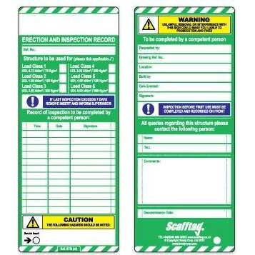 Scafftag® Inserts (Pack of 10 Green both sides)