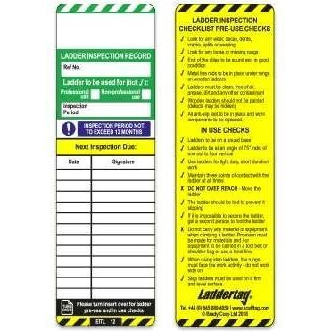 Scafftag Laddertag® Inserts (Pack of 10 Green & White one side & Yellow the other)