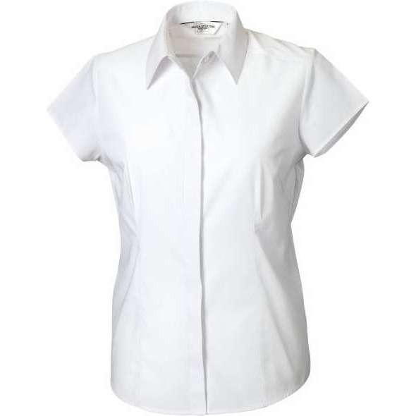 Russell Women's Cap Sleeve Polycotton Easycare Fitted Poplin Shirt (925F)