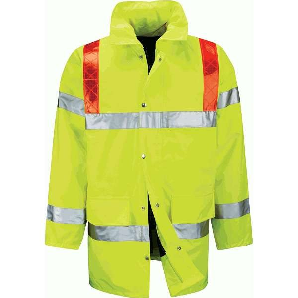 Hi Vis Tor 3/4 Length Jacket With Red Braces