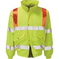 Hi Vis Foil Bomber Jacket With Red Braces